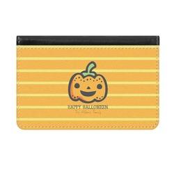 Halloween Pumpkin Genuine Leather ID & Card Wallet - Slim Style (Personalized)