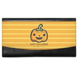 Halloween Pumpkin Genuine Leather Ladies Wallet (Personalized)