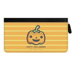Halloween Pumpkin Genuine Leather Ladies Zippered Wallet (Personalized)