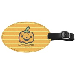 Halloween Pumpkin Genuine Leather Oval Luggage Tag (Personalized)