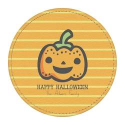 Halloween Pumpkin Round Desk Weight - Genuine Leather  (Personalized)