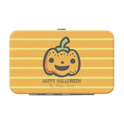 Halloween Pumpkin Genuine Leather Small Framed Wallet (Personalized)