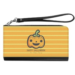 Halloween Pumpkin Genuine Leather Smartphone Wrist Wallet (Personalized)
