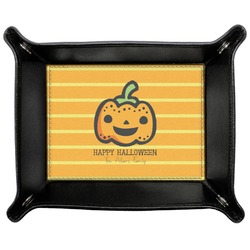 Halloween Pumpkin Genuine Leather Valet Tray (Personalized)