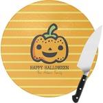 Halloween Pumpkin Round Glass Cutting Board (Personalized)