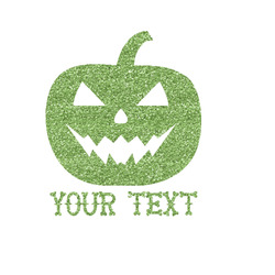 Halloween Pumpkin Glitter Iron On Transfer- Custom Sized (Personalized)