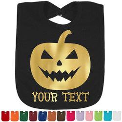 Halloween Pumpkin Foil Baby Bibs (Select Foil Color) (Personalized)