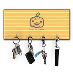 Halloween Pumpkin Key Hanger w/ 4 Hooks w/ Graphics and Text