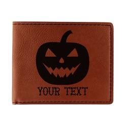 Halloween Pumpkin Leatherette Bifold Wallet (Personalized)