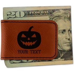 Halloween Pumpkin Leatherette Magnetic Money Clip (Personalized)
