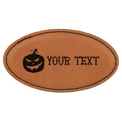 Halloween Pumpkin Leatherette Oval Name Badge with Magnet (Personalized)