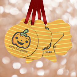 Halloween Pumpkin Metal Ornaments - Double Sided w/ Name or Text