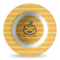 Halloween Pumpkin Plastic Bowl - Microwave Safe - Composite Polymer (Personalized)