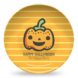 Halloween Pumpkin Microwave Safe Plastic Plate - Composite Polymer (Personalized)