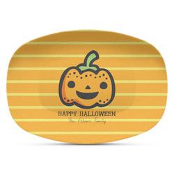 Halloween Pumpkin Plastic Platter - Microwave & Oven Safe Composite Polymer (Personalized)