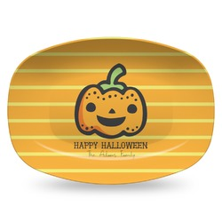 Halloween Pumpkin Plastic Platter - Microwave & Oven Safe Composite Polymer (Personalized)