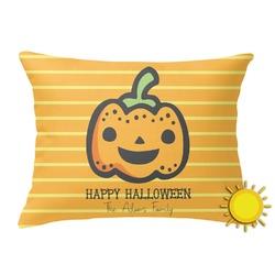 Halloween Pumpkin Outdoor Throw Pillow (Rectangular) (Personalized)