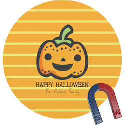 Halloween Pumpkin Round Fridge Magnet (Personalized)