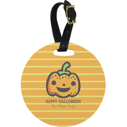 Halloween Pumpkin Round Luggage Tag (Personalized)