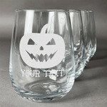 Halloween Pumpkin Stemless Wine Glasses (Set of 4) (Personalized)