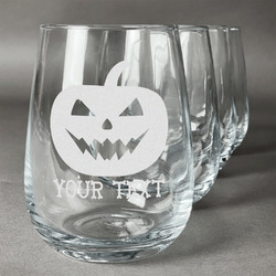 Halloween Pumpkin Wine Glasses (Stemless Set of 4) (Personalized)