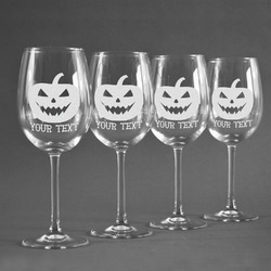 Halloween Pumpkin Wineglasses (Set of 4) (Personalized)