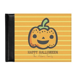 Halloween Pumpkin Genuine Leather Guest Book (Personalized)