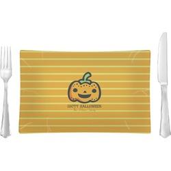 Halloween Pumpkin Rectangular Glass Lunch / Dinner Plate - Single or Set (Personalized)