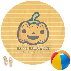 Halloween Pumpkin Round Beach Towel (Personalized)