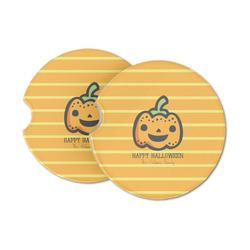 Halloween Pumpkin Sandstone Car Coasters (Personalized)