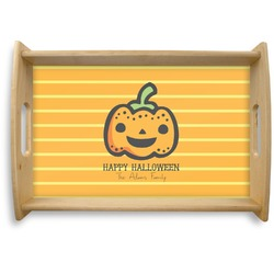 Halloween Pumpkin Natural Wooden Tray (Personalized)
