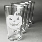 Halloween Pumpkin Beer Glasses (Set of 4) (Personalized)