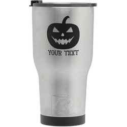 Halloween Pumpkin RTIC Tumbler - Silver - Engraved Front (Personalized)