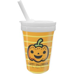 Halloween Pumpkin Sippy Cup with Straw (Personalized)