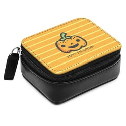 Halloween Pumpkin Small Leatherette Travel Pill Case (Personalized)
