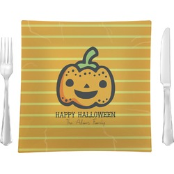 """Halloween Pumpkin Glass Square Lunch / Dinner Plate 9.5"""" - Single or Set of 4 (Personalized)"""