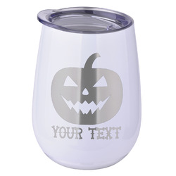 Halloween Pumpkin Stemless Wine Tumbler - 5 Color Choices - Stainless Steel  (Personalized)