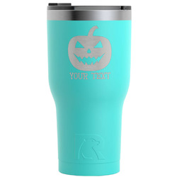 Halloween Pumpkin RTIC Tumbler - Teal - Engraved Front (Personalized)