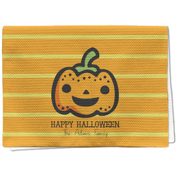 Halloween Pumpkin Waffle Weave Kitchen Towel - Full Print (Personalized)