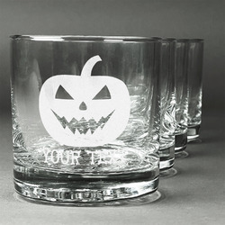 Halloween Pumpkin Whiskey Glasses (Set of 4) (Personalized)