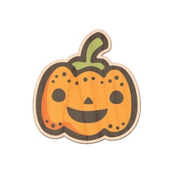 Halloween Pumpkin Genuine Maple or Cherry Wood Sticker (Personalized)