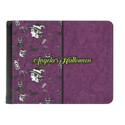 Witches On Halloween Genuine Leather Men's Bi-fold Wallet (Personalized)