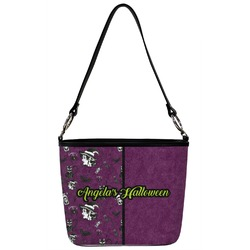 Witches On Halloween Bucket Bag w/ Genuine Leather Trim (Personalized)
