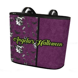 Witches On Halloween Bucket Tote w/ Genuine Leather Trim (Personalized)