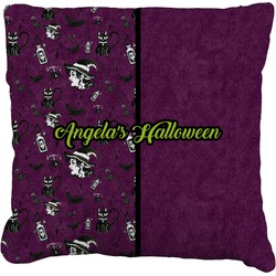 Witches On Halloween Faux-Linen Throw Pillow (Personalized)