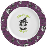 Witches On Halloween Ceramic Dinner Plates (Set of 4) (Personalized)