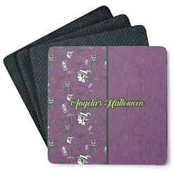 Witches On Halloween 4 Square Coasters - Rubber Backed (Personalized)