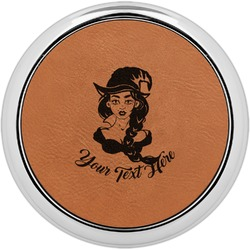 Witches On Halloween Leatherette Round Coaster w/ Silver Edge - Single or Set (Personalized)