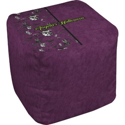 Witches On Halloween Cube Pouf Ottoman (Personalized)