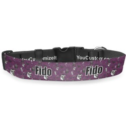"Witches On Halloween Deluxe Dog Collar - Large (13"" to 21"") (Personalized)"